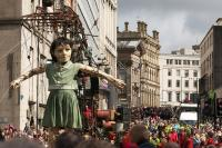 Photo of giant street puppet theatre