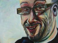 Man painting glasses