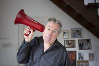 Photo of Terry Jones with megaphone