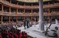 Photo of cast on stage at Globe Theatre