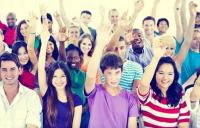 Photo of young people with hands up