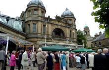 People in front of the Buxton Opera House