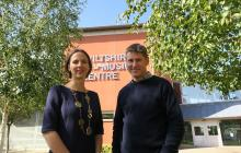 Maud Sain-Sardos (left) and James Slater (right) outside Wiltshire Music Centre