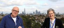 Stephen Jameson and Sarah Preece against the London skyline