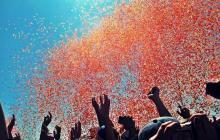 Photo of confetti cannon going off