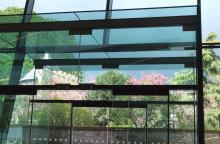 A view of trees through a glass window