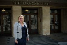 Karen Bradley outside the Liverpool Philharmonic Hall