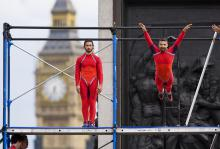 Photo of dancers leaping in front of Big Ben
