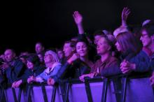 Photo of audience in purple light