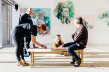 Photo of people in art gallery