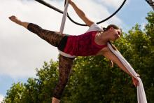 Photo of an aerial performer