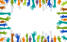 a border of hands reaching into the centre