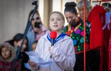 Greta Thunberg addresses climate strikers at Civic Center Park in Denver