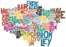 A graphic of London boroughs