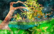 A painting of a tree bending in the wind