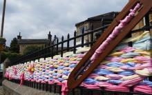 Community yarnbombing by Woven in Kirklees