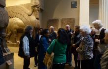 A group of people visiting the British Museum