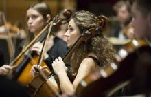 Photo of musicians playing in orchestra