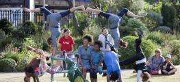 Acrobatics on bench
