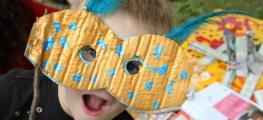 Photo of child wearing handmade mask