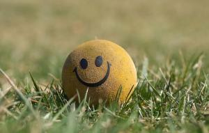 A photo of a ball with a smiley face on it on some grass