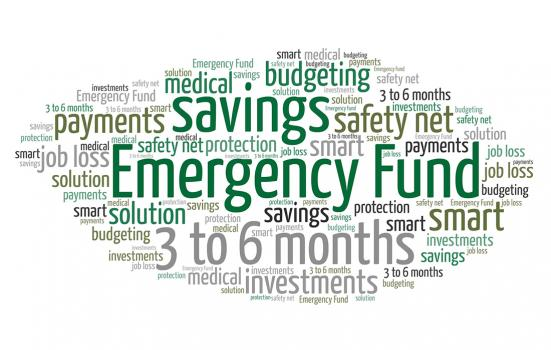 a word cloud image featuring phrases such as savings, emergency fund, 3 to 6 months, safety net and others