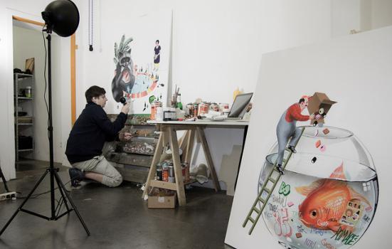 Photo of artist in studio