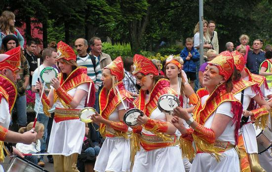 A photo of women playing the tamborine at Belfast Carnival