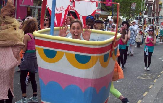 Photo of volunteer at the Manchester Day parade
