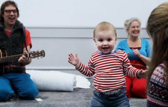 Photo of a baby dancing