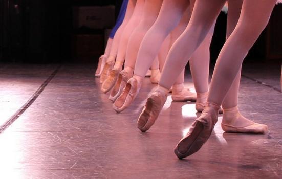 Photo of ballet dancers feet