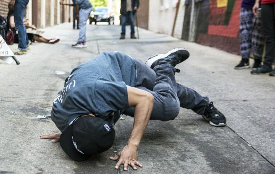 Photo of boy breakdancing