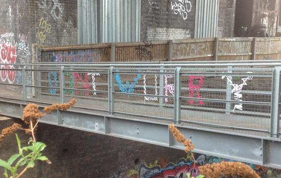 Photo of message on bridge