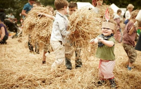 Children in hay