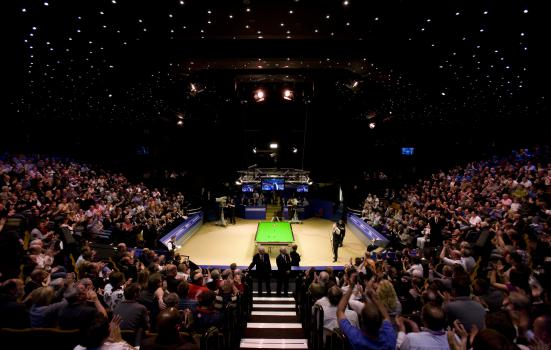 Photo of audience and players at snooker championships