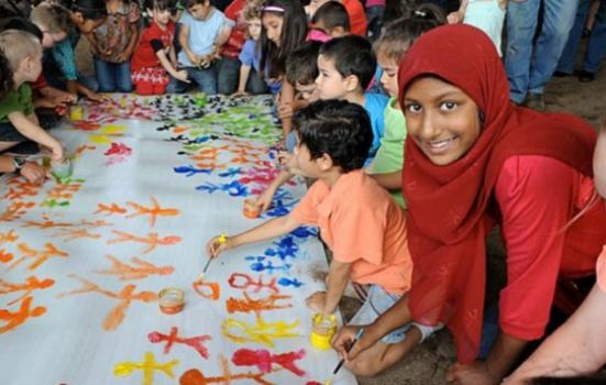 Photo of children painting