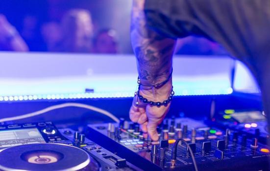 Close of up a hand on DJ decks