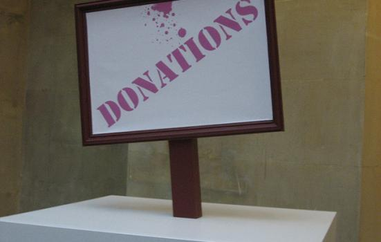 Photo of donations sign