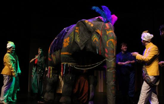 Photo of a theatre elephant & actors