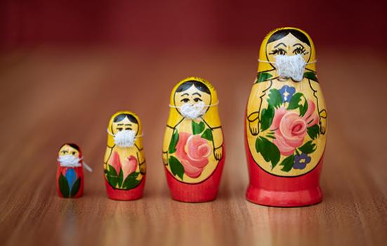 Russian dolls with Covid masks