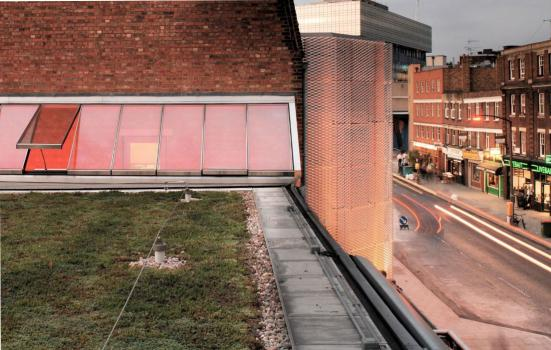 Photo of The sedum roof at the Young Vic, part of the passive low energy rebuilding project by Haworth Tompkins