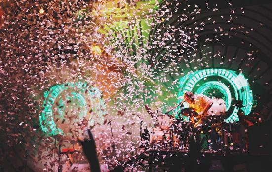 Photo of a gig with confetti