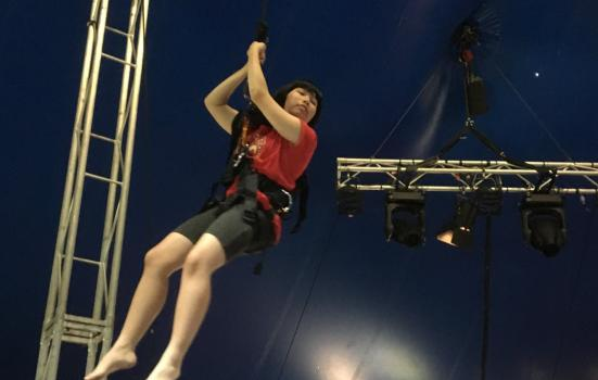 Photo of girl on a trapeze