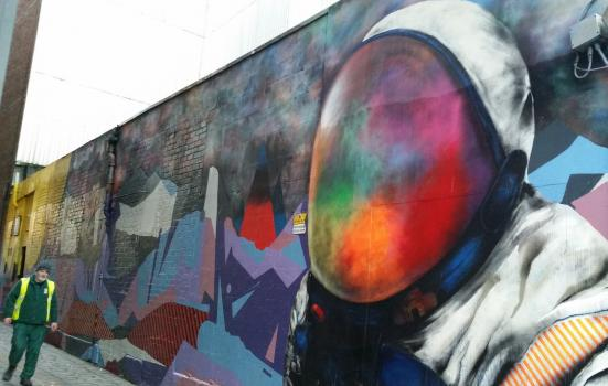 Photo of spaceman mural