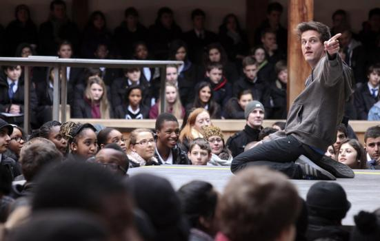 Will Featherstone on stage as Romeo in Romeo and Juliet, part of Globe Education's 'Playing Shakespeare with Deutsche Bank'