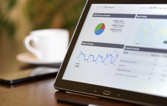Photo of tablet with Google Analytics report