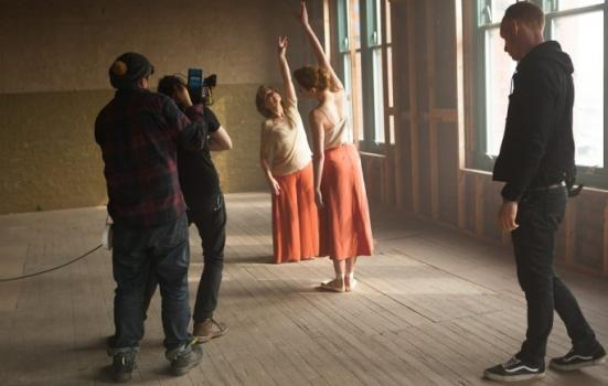 Photo of dancers being filmed
