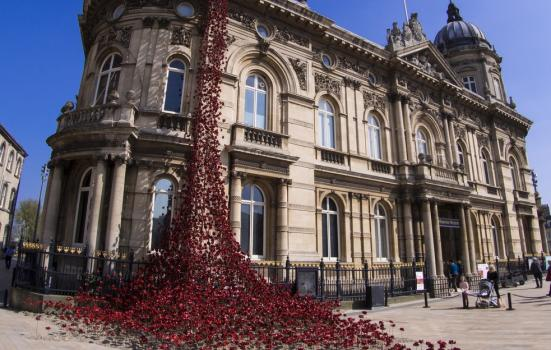 An art installation depicting poppies at Hull Maritime Museum