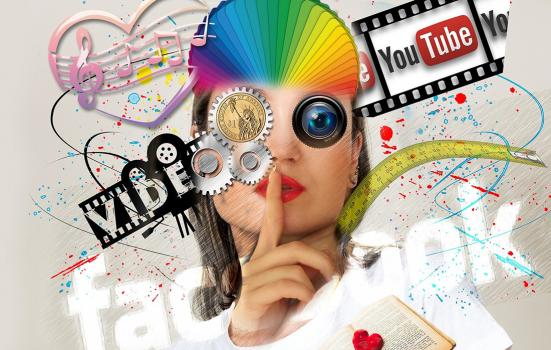a composite image featuring Facebook and YouTube brands