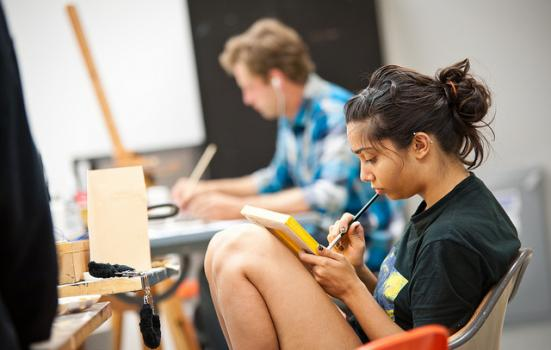 Photo of students in an art class